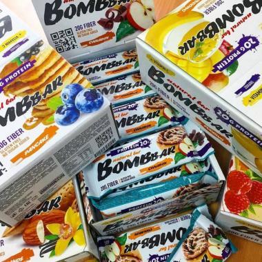 Протеиновые батончики Bombbar 60 г - 50 шт вкусы на выбор